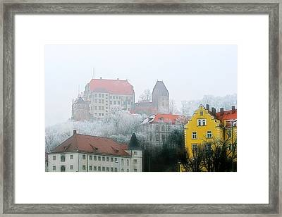 Landshut Bavaria On A Foggy Day Framed Print by Christine Till