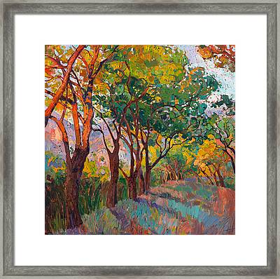 Framed Print featuring the painting Lane Of Oaks by Erin Hanson
