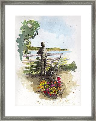 Langley Boy And Dog Framed Print by Judi Nyerges