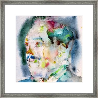 Langston Hughes - Watercolor Portrait.3 Framed Print by Fabrizio Cassetta