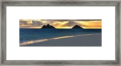 Lanikai Beach Sunrise Panorama - Kailua Oahu Hawaii Framed Print by Brian Harig