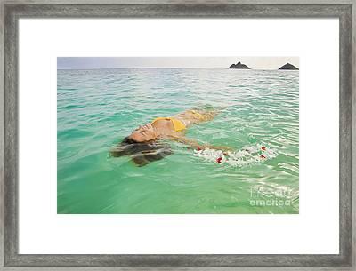 Lanikai Floating Woman Framed Print by Tomas del Amo - Printscapes