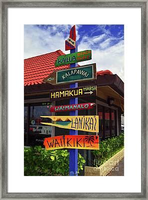 Lanikai Kailua Waikiki Beach Signs Framed Print by Aloha Art