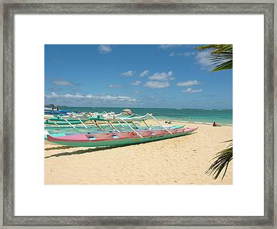 Lanikai Outriggers Framed Print by Halle Treanor