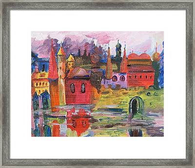Lanscape With Red Houses Framed Print