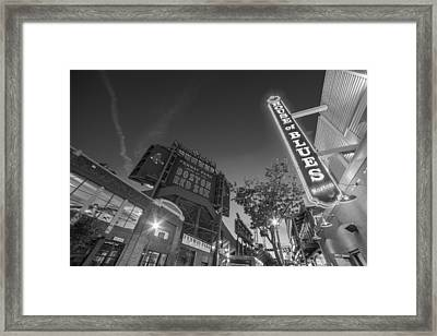 Lansdowne Street Fenway Park House Of Blues Boston Ma Black And White Framed Print by Toby McGuire