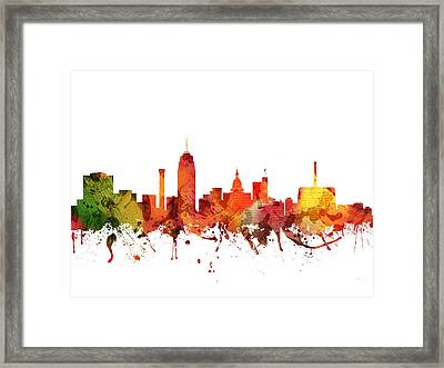 Lansing Cityscape 04 Framed Print by Aged Pixel