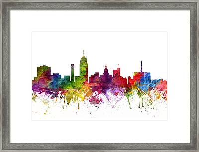 Lansing Cityscape 06 Framed Print by Aged Pixel