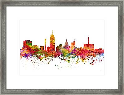 Lansing Cityscape 08 Framed Print by Aged Pixel