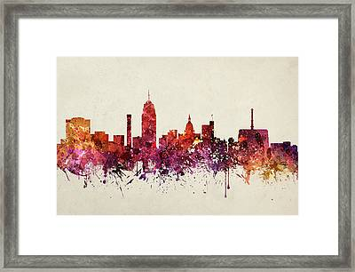 Lansing Cityscape 09 Framed Print by Aged Pixel