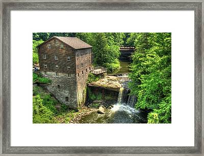 Lanterman's Mill And Covered Bridge - Youngstown Ohio Framed Print by Gregory Ballos