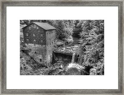 Lanterman's Mill Black And White - Youngstown Ohio Framed Print