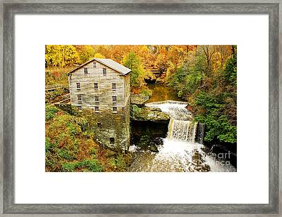 Lantermans Mill In Fall Framed Print by Tony  Bazidlo