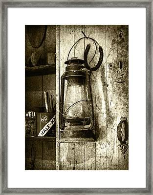 Lantern And Horseshoe - Sepia Framed Print