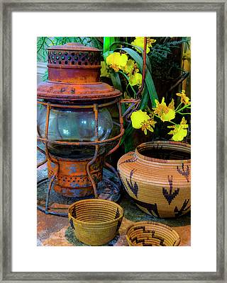 Lantern With Baskets Framed Print by Stephen Anderson