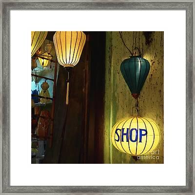 Lanterns At A Gift Shop Entrance Framed Print