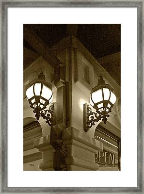 Framed Print featuring the photograph Lanterns - Night In The City - In Sepia by Ben and Raisa Gertsberg