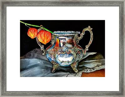 Lanterns On Silver Framed Print