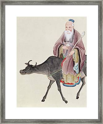Lao Tzu On His Buffalo Framed Print by Chinese School