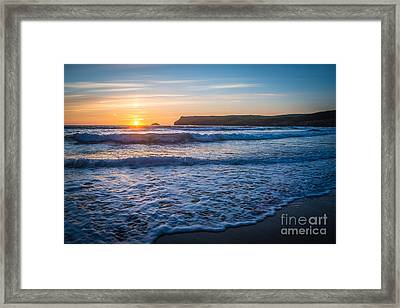 Lapping Waves At Sunset Framed Print by Amanda Elwell