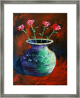 Framed Print featuring the painting Large Abstract Roses In Vase Painting by Mark Webster