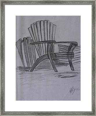 Large Chair On The Lawn Framed Print