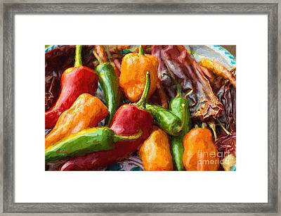 Large Chili Peppers Framed Print