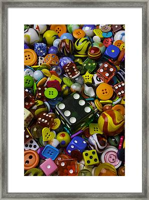 Large Green Dice Framed Print by Garry Gay