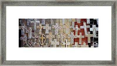 Large Group Of Crucifixes, San Miguel Framed Print