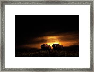 Large Orange Moon Rise With Buffalo Framed Print by Randall Nyhof
