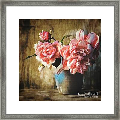 Large Pink Flowers In A Vase Framed Print by Amy Cicconi