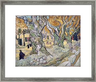 Large Platunus The Road Menders, 1889 Framed Print by Vincent Van Gogh