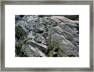 Large Rock At Central Park Framed Print