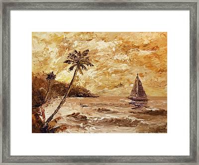 Large Sailboat On The Hawaiian Coast Oil Painting  Framed Print