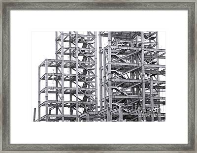 Framed Print featuring the photograph Large Scale Construction Project With Steel Girders by Yali Shi