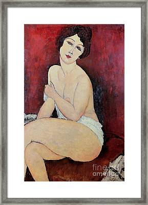 Large Seated Nude Framed Print by Amedeo Modigliani
