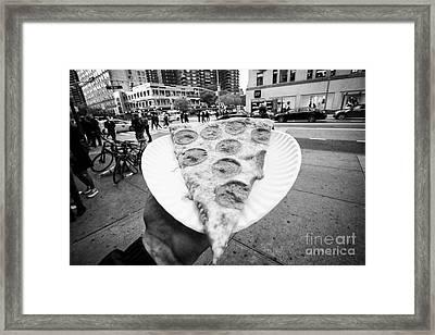large single slice of pepperoni pizza New York City USA Framed Print