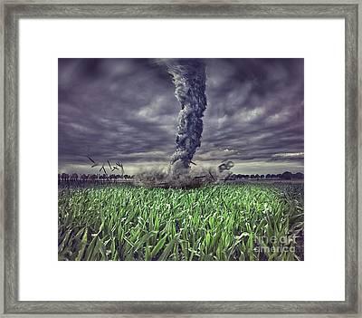 Large Tornado Over The Meadow Framed Print by Caio Caldas