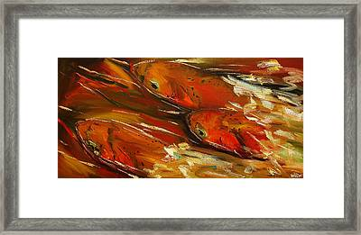 Large Trout Stream Fly Fish Framed Print by Diane Whitehead
