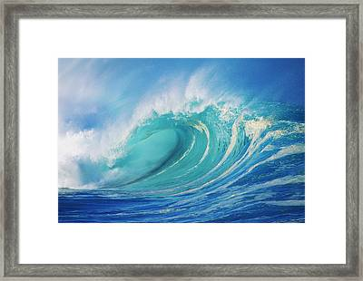 Large Wave Curling Framed Print by Ron Dahlquist - Printscapes