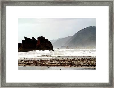 Large Waves Along The New Zealand Coast Framed Print