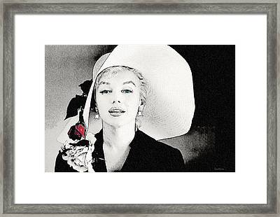 Large White Hat -marilyn Monroe  - Sketch Framed Print