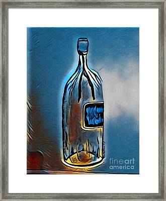 Large Wine Bottle - Abstract Blues Framed Print