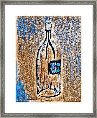 Large Wine Bottle - Abstract Crackle Framed Print