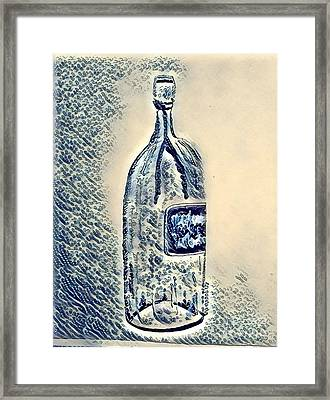 Large Wine Bottle - Bubbles Framed Print