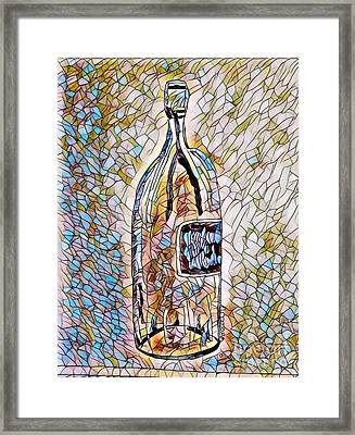 Large Wine Bottle - Stained Glass Framed Print
