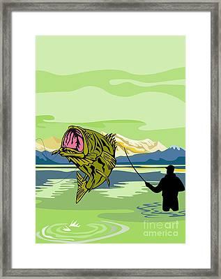 Largemouth Bass Fish Jumping Framed Print by Aloysius Patrimonio