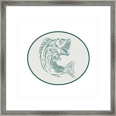 Largemouth Bass Fish Oval Etching Framed Print by Aloysius Patrimonio