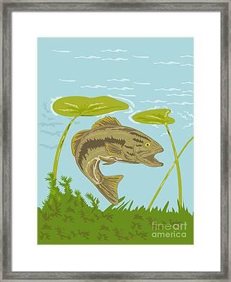 Largemouth Bass Fish Swimming Underwater  Framed Print by Aloysius Patrimonio