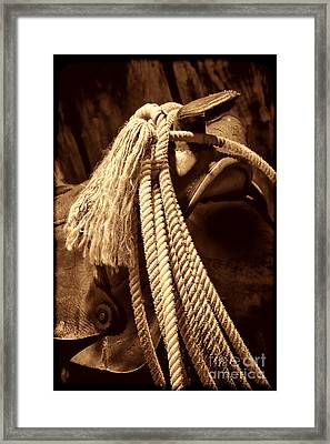 Lariat On A Saddle Framed Print by American West Legend By Olivier Le Queinec